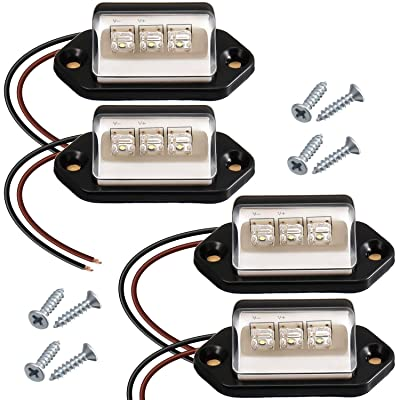 4 Pieces 3 LED License Plate Light Step Courtesy Lights 3W Waterproof License Plate Lamp Taillight for Truck Trailer Van Boats Motorcycle License Plate, 12V 24V: Automotive