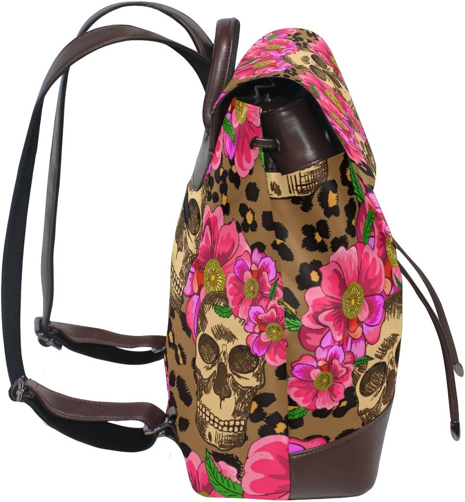 KUWT Sugar Skull and Pink Flowers PU Leather Backpack Photo Custom Shoulder Bag School College Book Bag Rucksack Casual Daypacks Diaper Bag for Women and Girl
