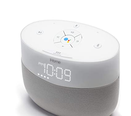 iHome Google Assistant Built-in Chromecast Smart Home Alarm Clock with Wi-Fi Multiroom Audio Bluetooth Speaker System for Streaming Music with USB ...