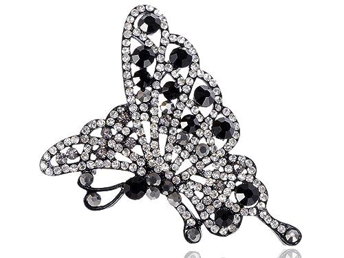 40ddf598dbf6c Alilang Women's Shine Swarovski Crystal Elements Butterfly Flying Bug  Brooch Pin