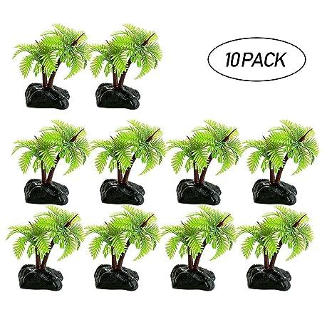 Leegoal Plantas artificiales de agua para acuario, plástico, árbol de coco, planta decorativa