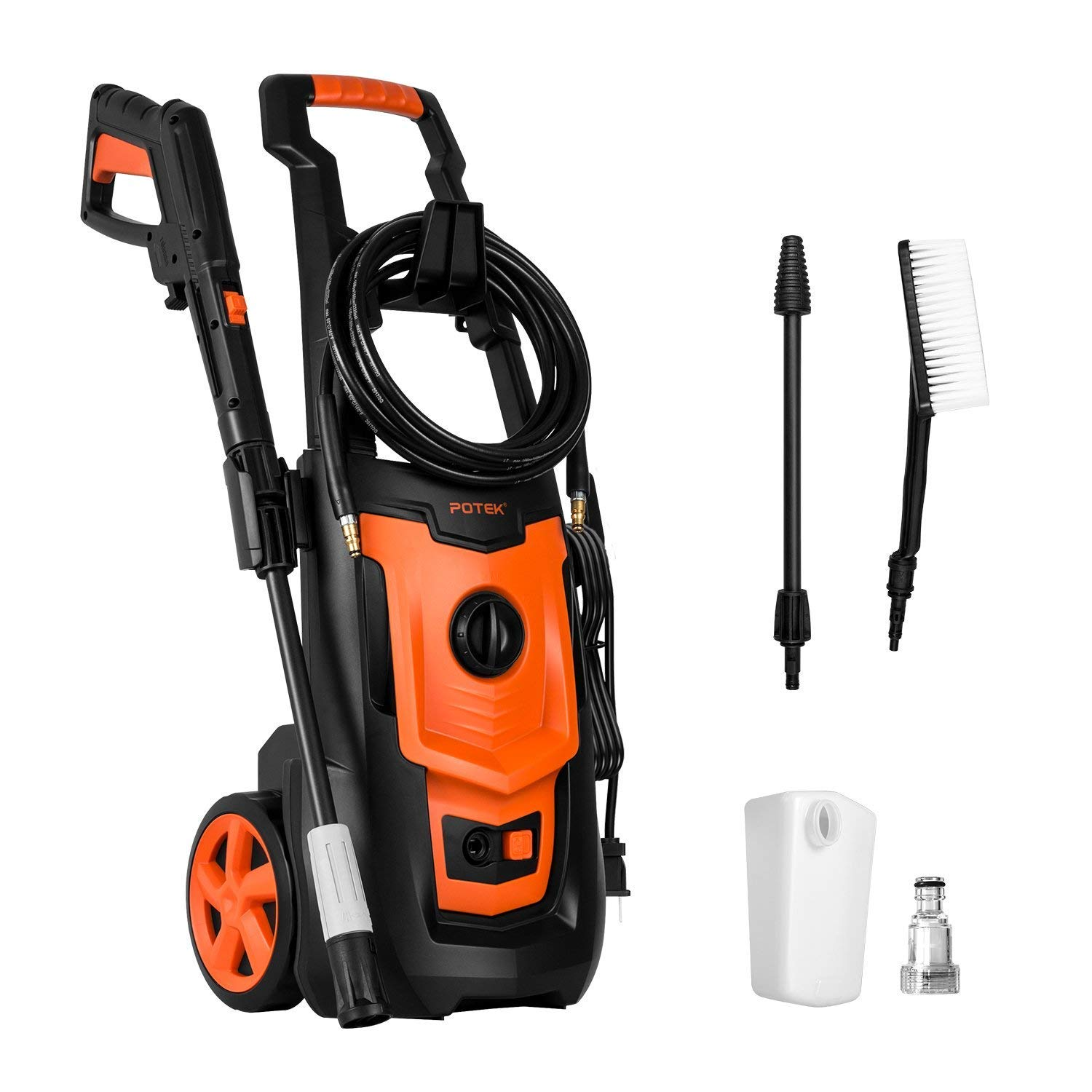 POTEK 1800PSI 1.4 GPM 13-AMP Electric Pressure Washer,Power Washer with Adjustable Spray Nozzle Gun,Spray Brush and Detergent Nozzle