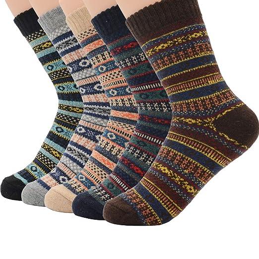 973ccb612 Winter Cabin Socks for Women Vintage Warm Soft Thick Wool Sock Girls Crew  Socks 5 Pack