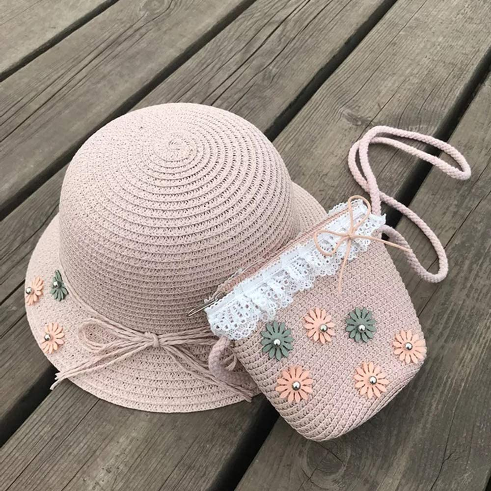 SPMI Straw Hats Girls Kids Sun Hats Summer Beach Hats Straw Woven Pocket Suit Outdoor Activities Pink