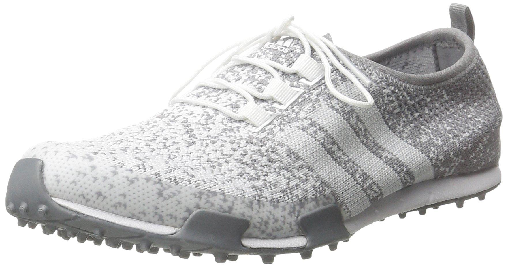 adidas Women's Ballerina Primeknit Golf Spikeless, FTWR White/Light Onix/Silver Metallic,7.5 M US