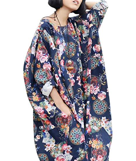 b1592a659 YESNO T186 Women Long Floral Maxi Dress 100% Linen Casual Loose Fit Oversize