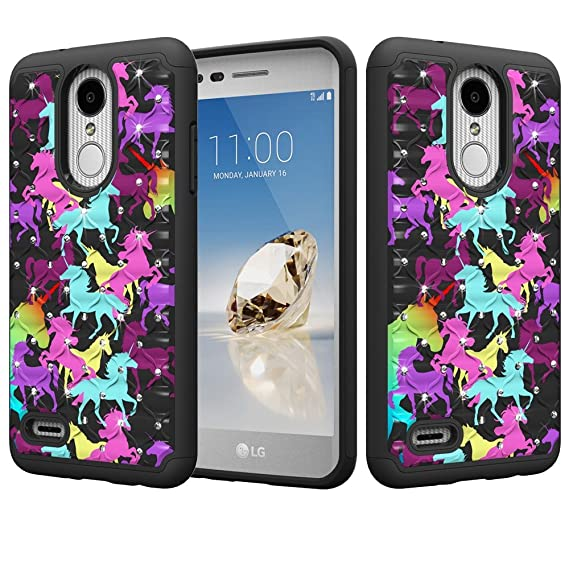 official photos 6fe02 adebb LG Tribute Dynasty Case, LG Aristo 2, LG K8 2018, LG Rebel 3, Zone 4 Dual  Layer Jewel Rhinestone Bling Glittery [Shock Proof Impact Resistant] ...