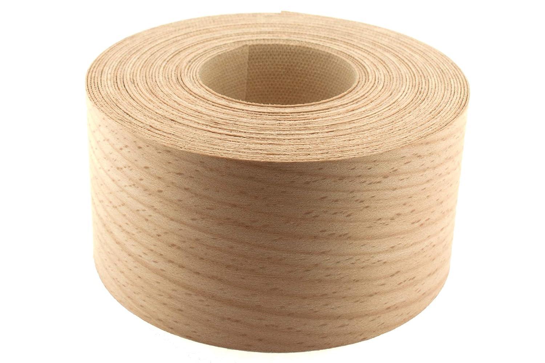 50mm Beech Veneer Edging - 7.5m Roll - Pre-Glued Iron-On Real Wood Edging Tape for Easy DIY Application WoodPress
