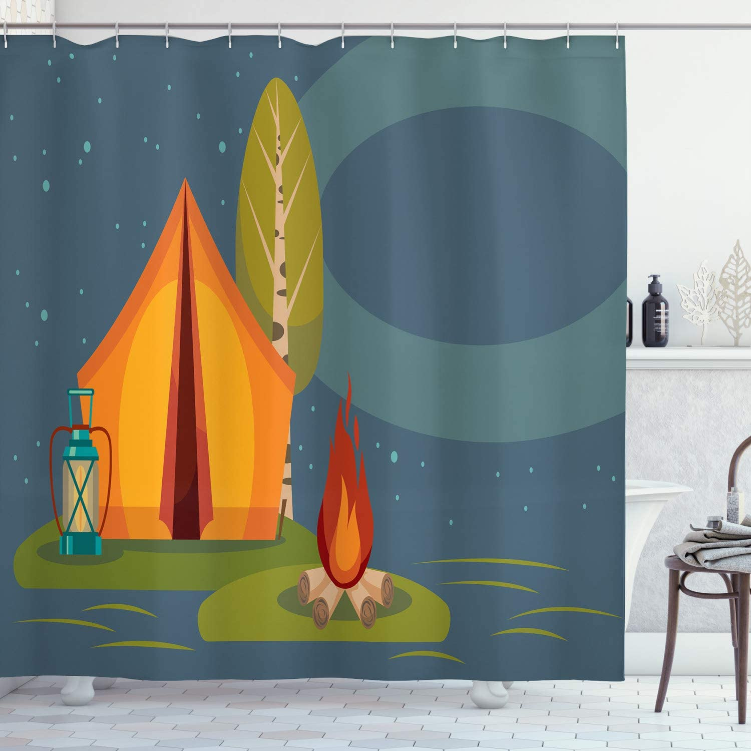 Lunarable Camping Shower Curtain, Summer Outdoor Activity in The Forest Tent Campfire and Lantern Under Night Sky, Cloth Fabric Bathroom Decor Set with Hooks, 70