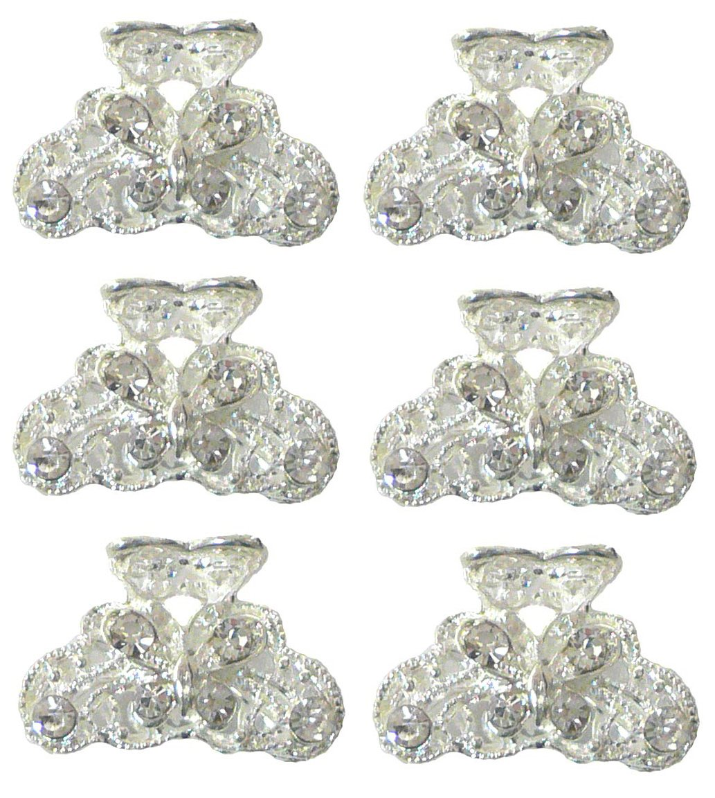 Set of 8 Mini Jaw Clips 8 Mini Hair Clips Tiny Claw Clips Pale Gold Tone U1565-8