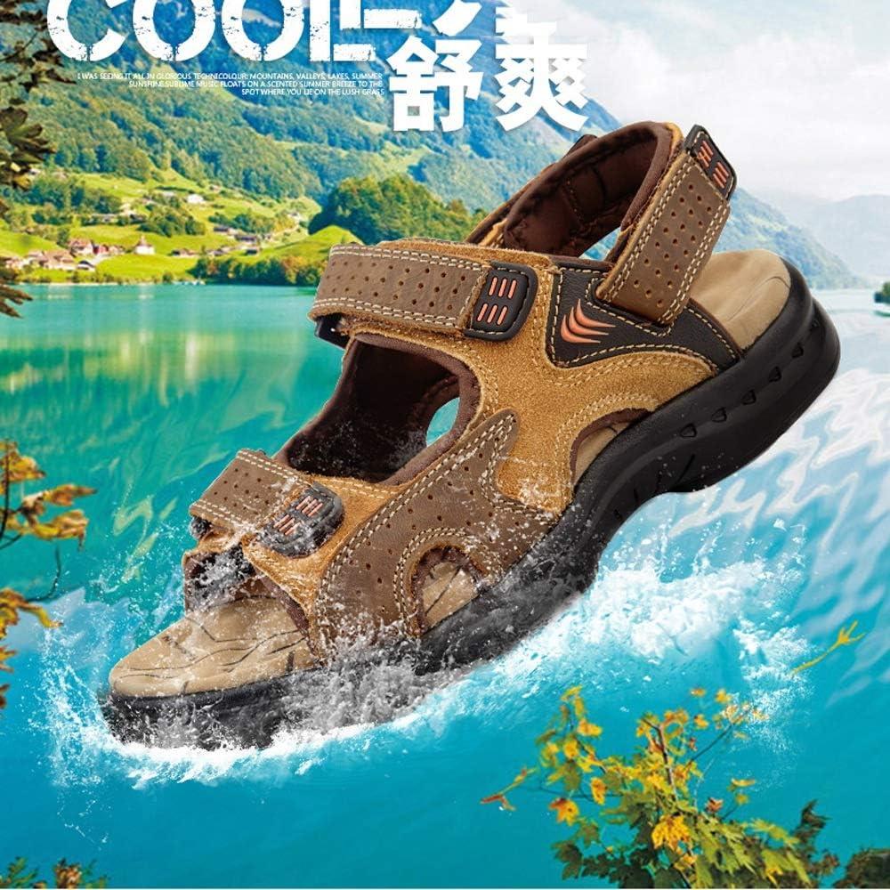 2019 Nuevas Sandalias de Verano Sandalias de Piel de Vaca Masculina Ocio Hombres Playa Zapatos Moda Arena Arrastre Vinteen Khaki