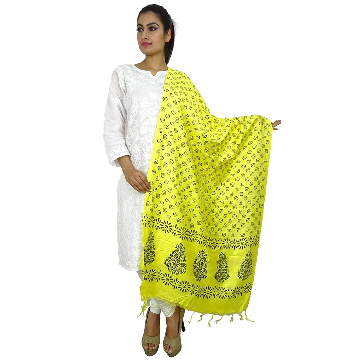 Art Silk Dupatta Designer Long Stole Throw Woman Indian Tassel Chunni