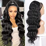 """Earfodo Long Wavy Ponytail Extension for Women Drawstring Ponytail Black Color 24"""" Synthetic Clip in Ponytail Extension…"""