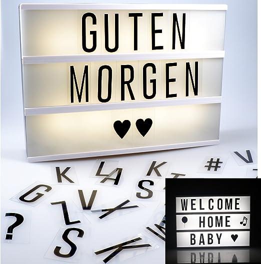 Caja de luz LED con letras y símbolos, funciona con batería, lámpara decorativa, Lightbox A4, 85 letras y caracteres flexibles: Amazon.es: Iluminación