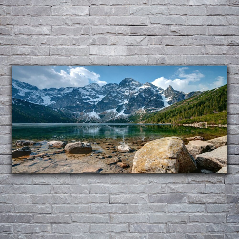 Glass Prints Wall Art by Tulup 120x60cm Images printed on Glass - Wall Picture behind Tempered / Toughened Safety Float Glass - Mountain Lake Stones Landscape - Grey Blue Green White
