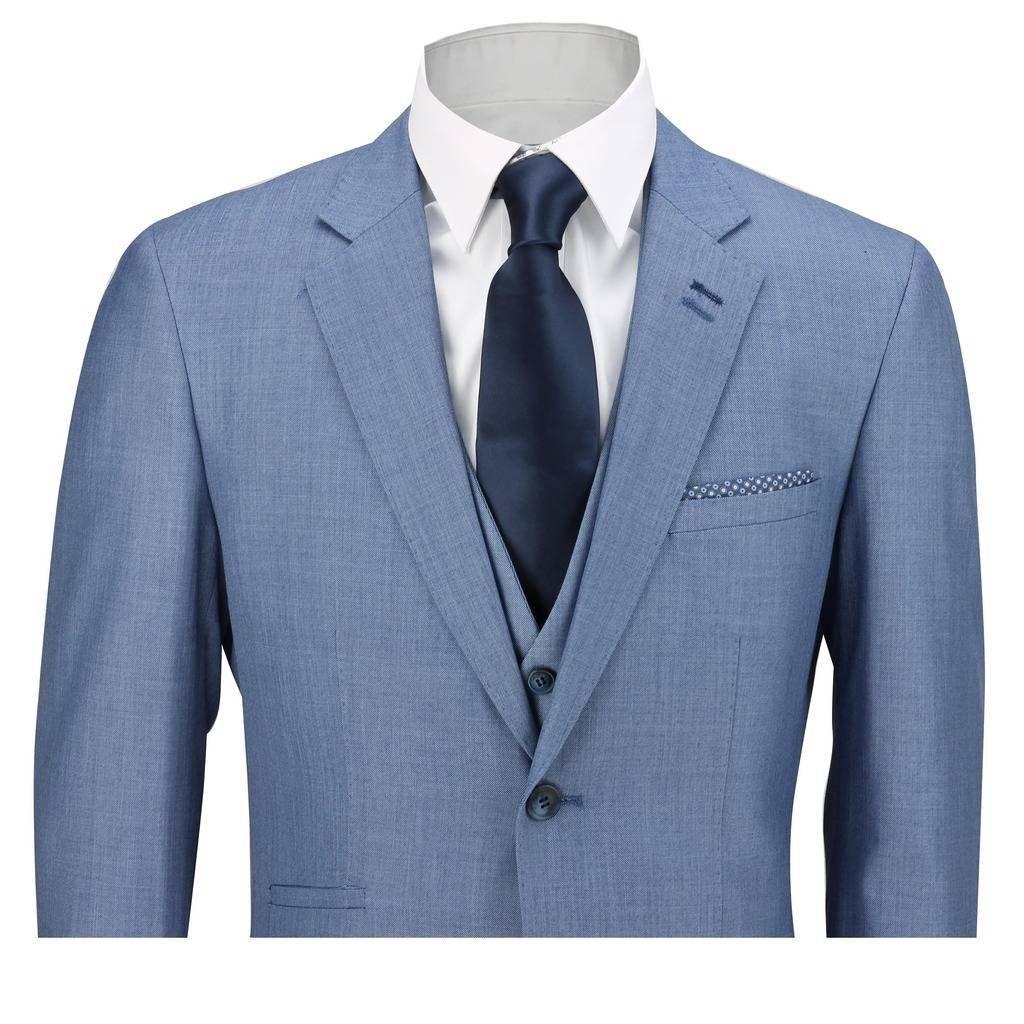 Cavani Mens Sky Blue 3 Piece Suit Work Wedding Prom Party Blazer ...