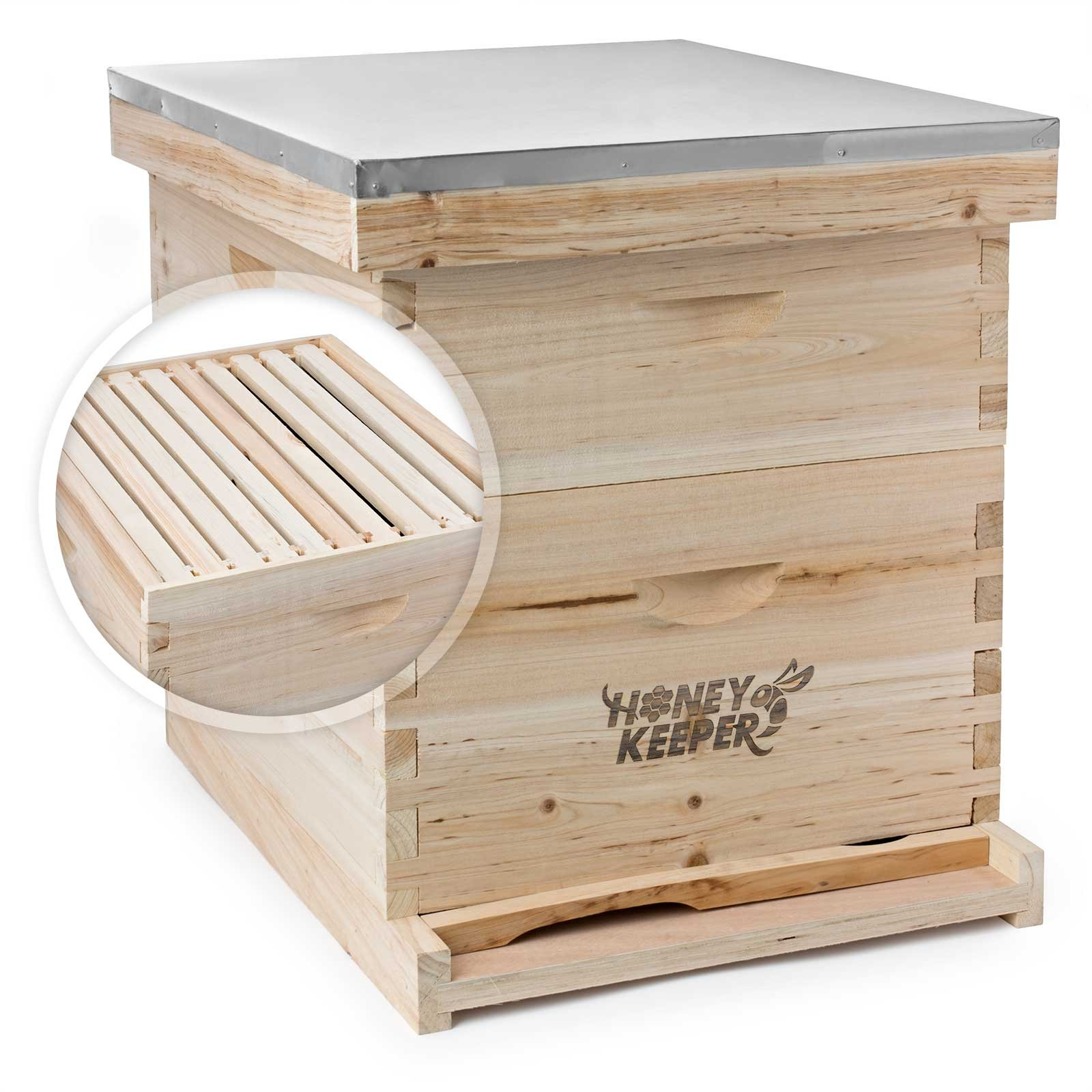 Honey Keeper Beehive 20 Frame Complete Box Kit (10 Deep and 10 Medium) with Metal Roof for Langstroth Beekeeping by Honey Keeper