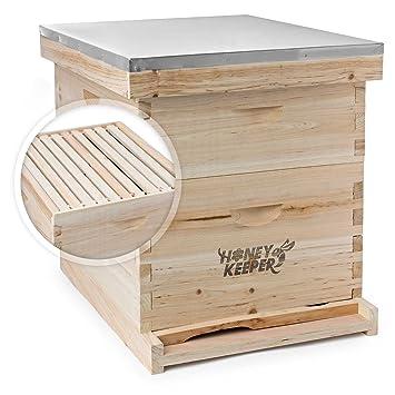 Honey Keeper Beehive - Kit DE 20 Cajas de Almacenamiento (10 DE Profundidad y 10 DE tamaño Mediano) con Techo de Metal para Apicultura Langstroth: ...