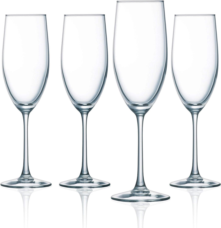 Amazon Com Arc International Luminarc Cachet 8 Ounce Champagne Flute Set Of 4 Glass Clear Champagne Glasses