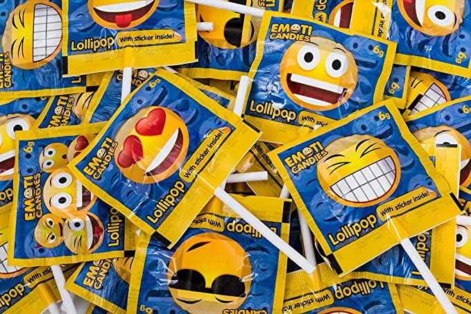 Piruletas Emoticandies La Asturiana - Caramelos de Palo de Sabores Variados con Pegatinas Coleccionables de Emoticonos - 120 unidades (720 gramos)