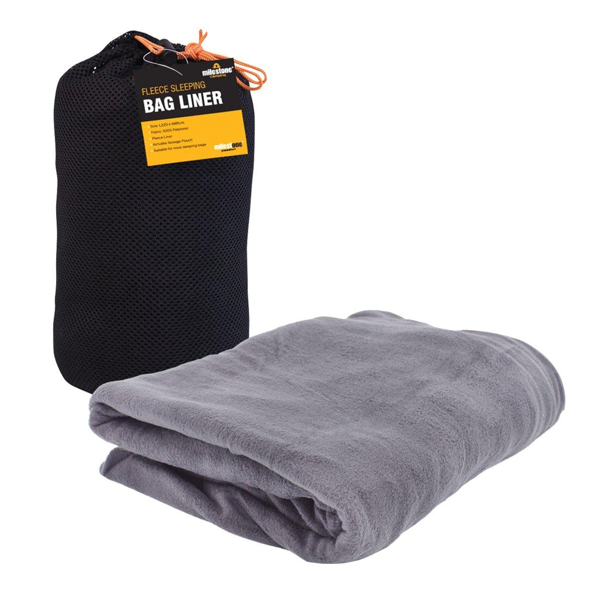 Milestone Camping Fleece Sleeping Bag Liner - Black unknown