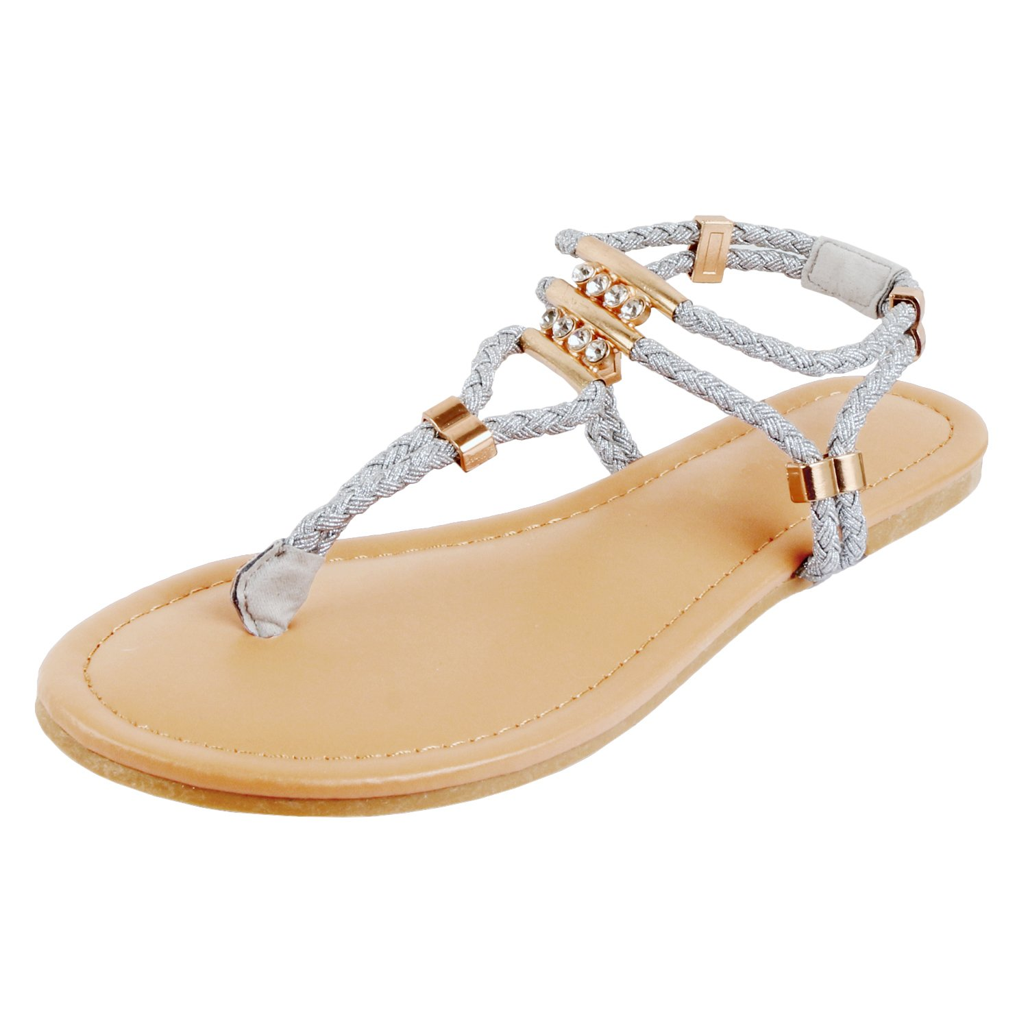 Guilty Heart - Womens Rhinestone Sparkle Sling Back Spring Summer Casual Thong Flat Sandal (8 B(M) US, Silverv2)