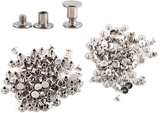 100Pcs Solid Binding Screw Stud Button Nail Rivets Leather Craft Belt Bag Wallet