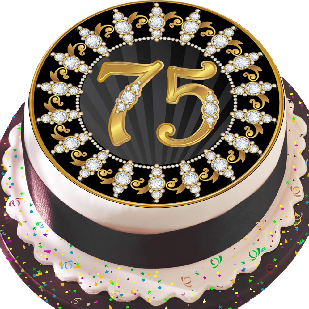 PRECUT Edible Decoration Icing Sheet 7.5 INCH Round Cake Topper Black and Gold 75TH Birthday Z06