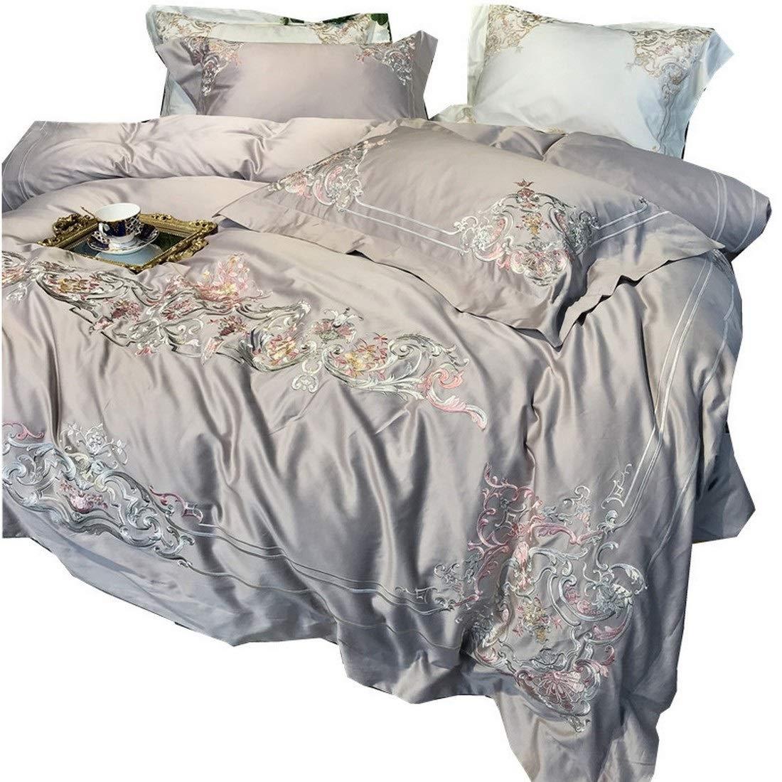 Kainuoo シンプルでタバコグレーの刺繍ロングベルベットコットンピュアコットン寝具セット4枚 (Size : QUEEN) B07NMT71V6  Queen