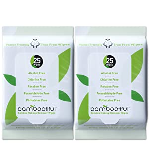 Bambootiful Tree Free Bamboo Makeup Remover Wipes, 50 Pack, Eco Friendly Makeup Remover Face Wipes for Sensitive Skin | Alcohol Free, Chlorine Free, and Paraben Free