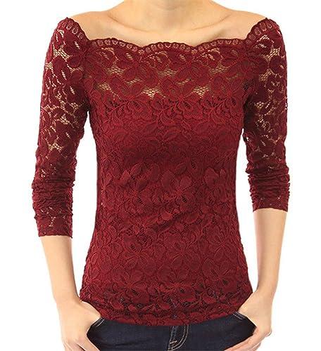 Minetom Mujer Camisa Blusa Manga Larga de Encaje Camiseta Moda Floral Crochet Elegante Tops Off Shou...