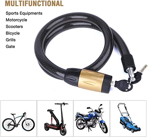 Haluoo Motorcycle Bike Lock Thick Steel Self Coiling Bike Cable Lock Strong Anti-Theft Security Bicycle Lock Chain Portable Keyless Bike Lock for Bike Motorcycle Bicycle Door Gate Fence Grill