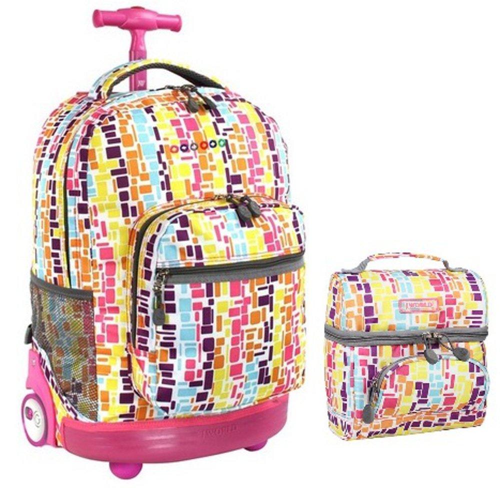 J WorldコンボRollingバックパック&ランチBag Back To SchoolバンドルセットSunrise / Corey B0105XW1GW Squares Neon Squares Neon