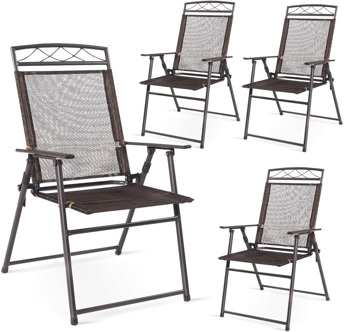 Safstar Patio Folding Chairs Set of 4, Portable Sling Chair for Backyard Poolside Balcony Lawn