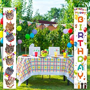 Allenjoy Cat Happy Birthday Theme Party Porch Sign Hanging Wall Banners for Kitty Pets Birthday Decors Polyester Wrinkle Free Outdoor Indoor 11.8x70.9 Inch Home Events Front Door Yard Supplies 2PCS