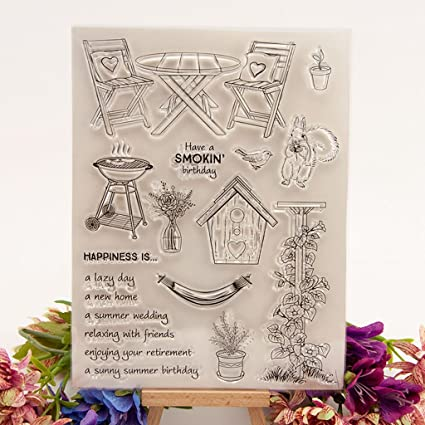 Table Chair DIY Silicone Clear Stamp Cling Seal Scrapbook Embossing Album Decor