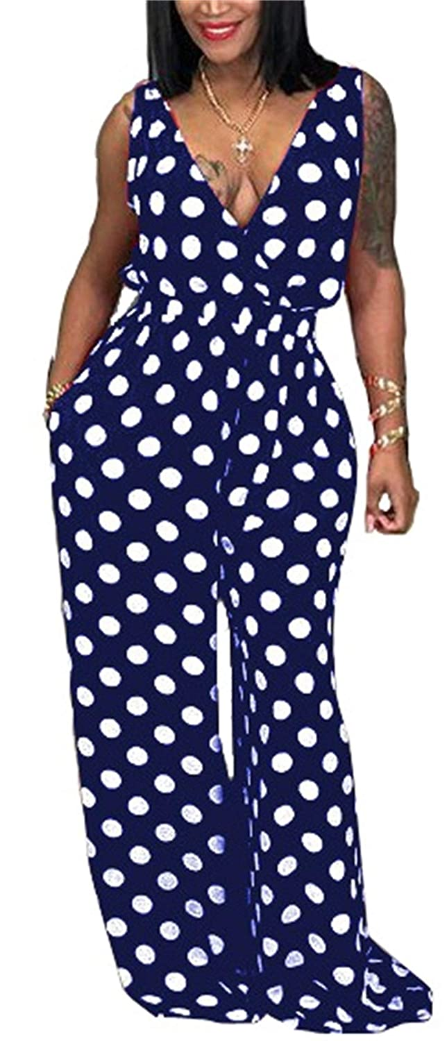 6bd534391e30 Amazon.com  Armofy Deep V Polka Dot Jumpsuits for Women Sleeveless Loose  Flared Bell Bottom Pants Rompers  Clothing