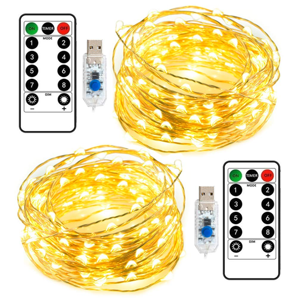 Da by USB 2 Pack 33Ft Remote LED Fairy Lights 8 Modes Dimmable 100 LEDs on The Copper Wire Lights Remote Control Timer Twinkle Starry String Lights Bedroom Outdoor Patio DIY Partie