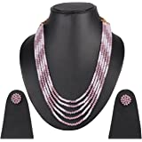 DS Multicolor Opaque Stone Necklace With Earrings Set For Women
