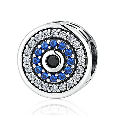 Crystal Evil Eye Bead Charm 925 Sterling Silver Charms Fits Pandora
