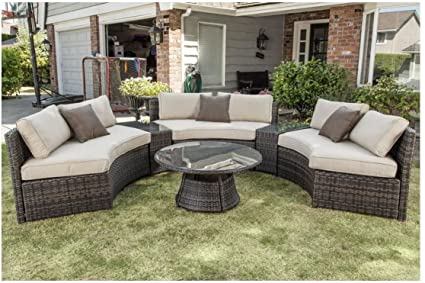 Amazon Com Curved Outdoor Wicker Rattan Patio Furniture Set W