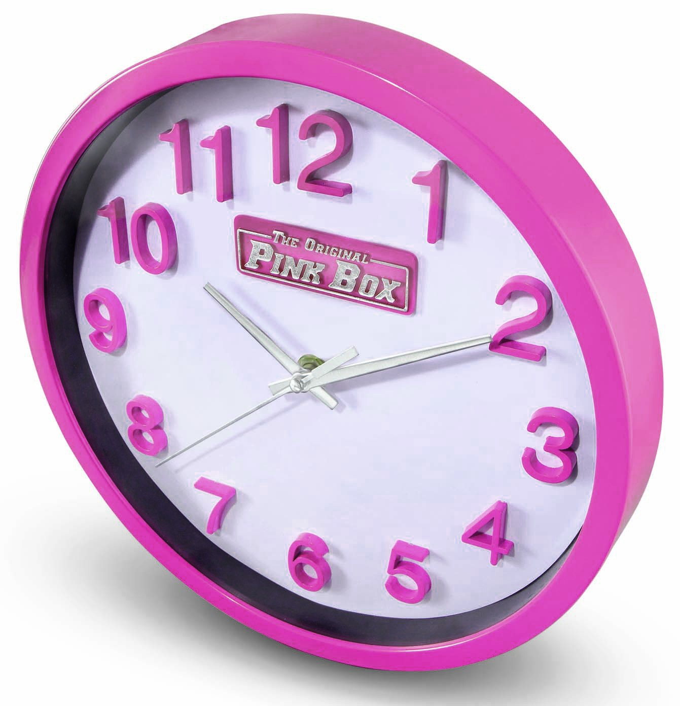 Amazon the original pink box pb12wc round wall clock 10 inch amazon the original pink box pb12wc round wall clock 10 inch pink home kitchen amipublicfo Image collections