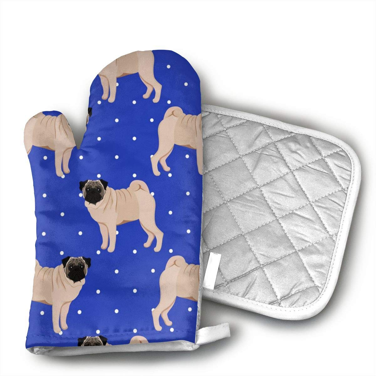 Wiqo9 Pug Seamless Pattern Oven Mitts and Pot Holders Kitchen Mitten Cooking Gloves,Cooking, Baking, BBQ.