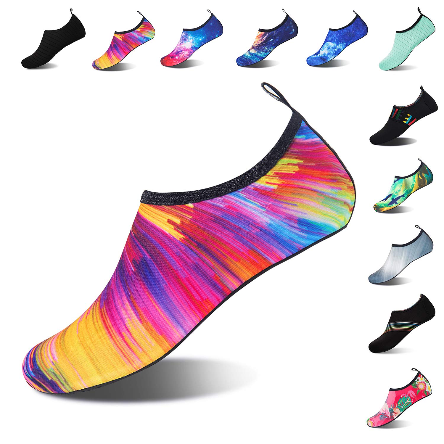 Mens Womens Water Shoes Barefoot Beach Pool Shoes Quick-Dry Aqua Yoga Socks for Surf Swim Water Sport (Colorful, 40/41EU)