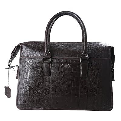 "Kattee Men's Italy Leather Briefcase 15.6"" Laptop Tote Shoulder Bag"