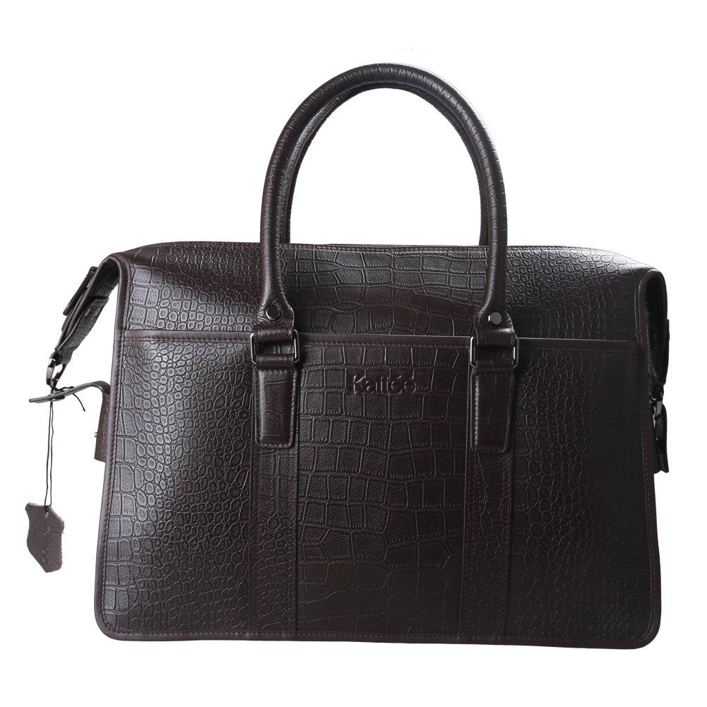 Kattee Men's Crocodile Print Real Italy Cow Leather Briefcase Tote Shoulder Bag (Brown)