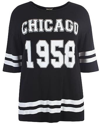 3d341b9e55dcb Amazon.com  New Womens Plus Size Varsity Stripe Baggy T-Shirts ...