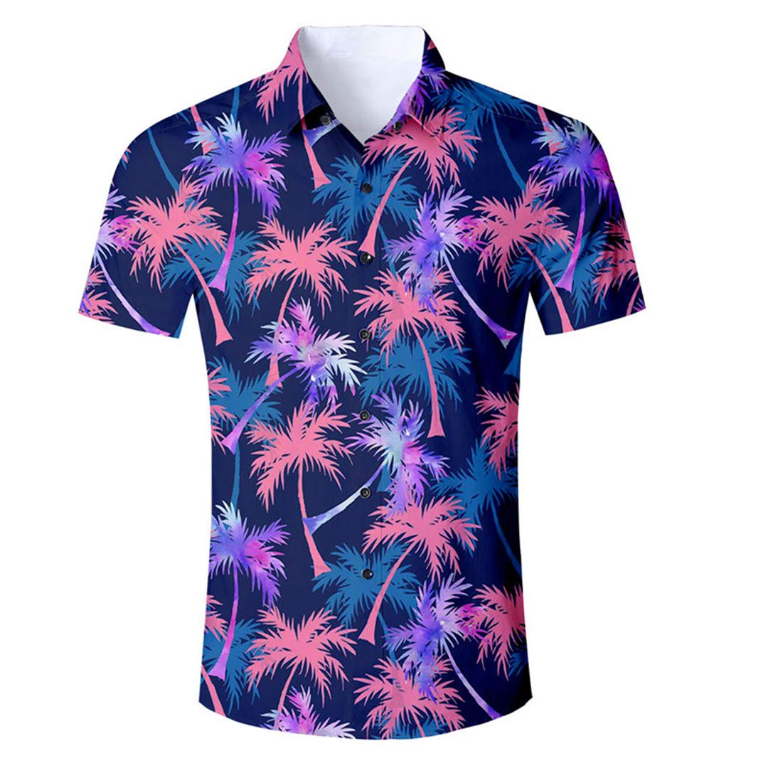 3D Palm Tree Men Shirt Short Sleeve Slim Fit Casual Shirt Vacation Tops Clothing Male Shirt