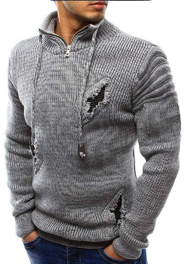 Alion Mans Fashion Zipper Casual High-Collar Mens Sweaters Tops Blouse Sweater