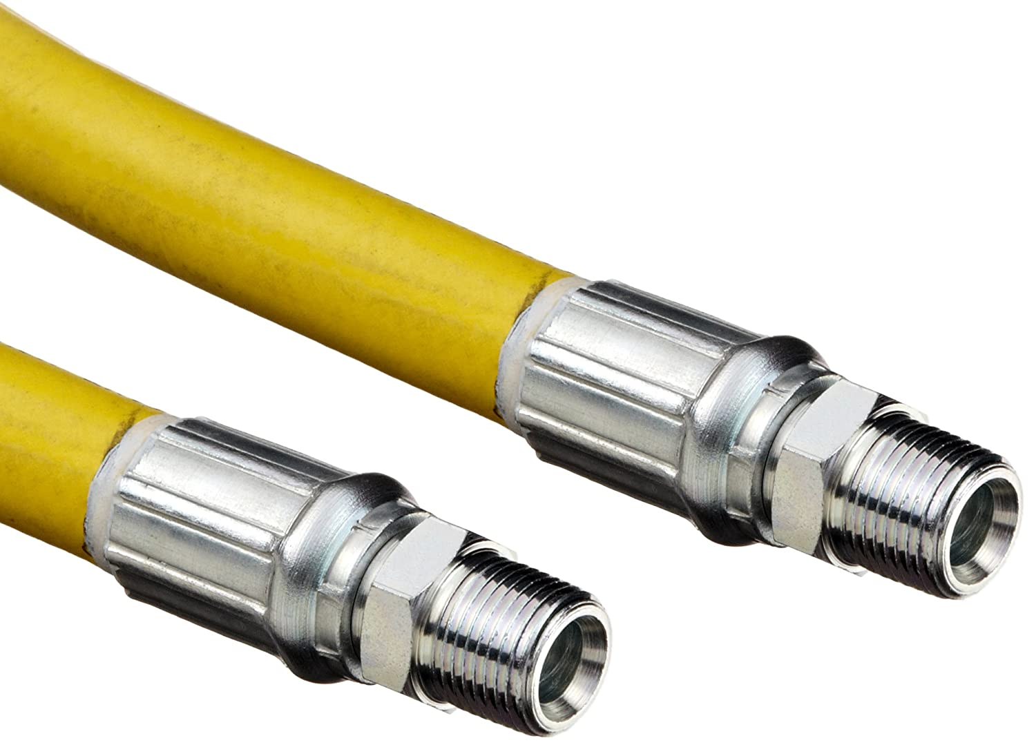 Image of Cleaning Tools Goodyear EP Gorilla Yellow Rubber Multipurpose Industrial Hose Assembly, 3/8' Steel Hydraulic Coupling Connection, 500 PSI Maximum Pressure, 25' Length, 3/8' ID